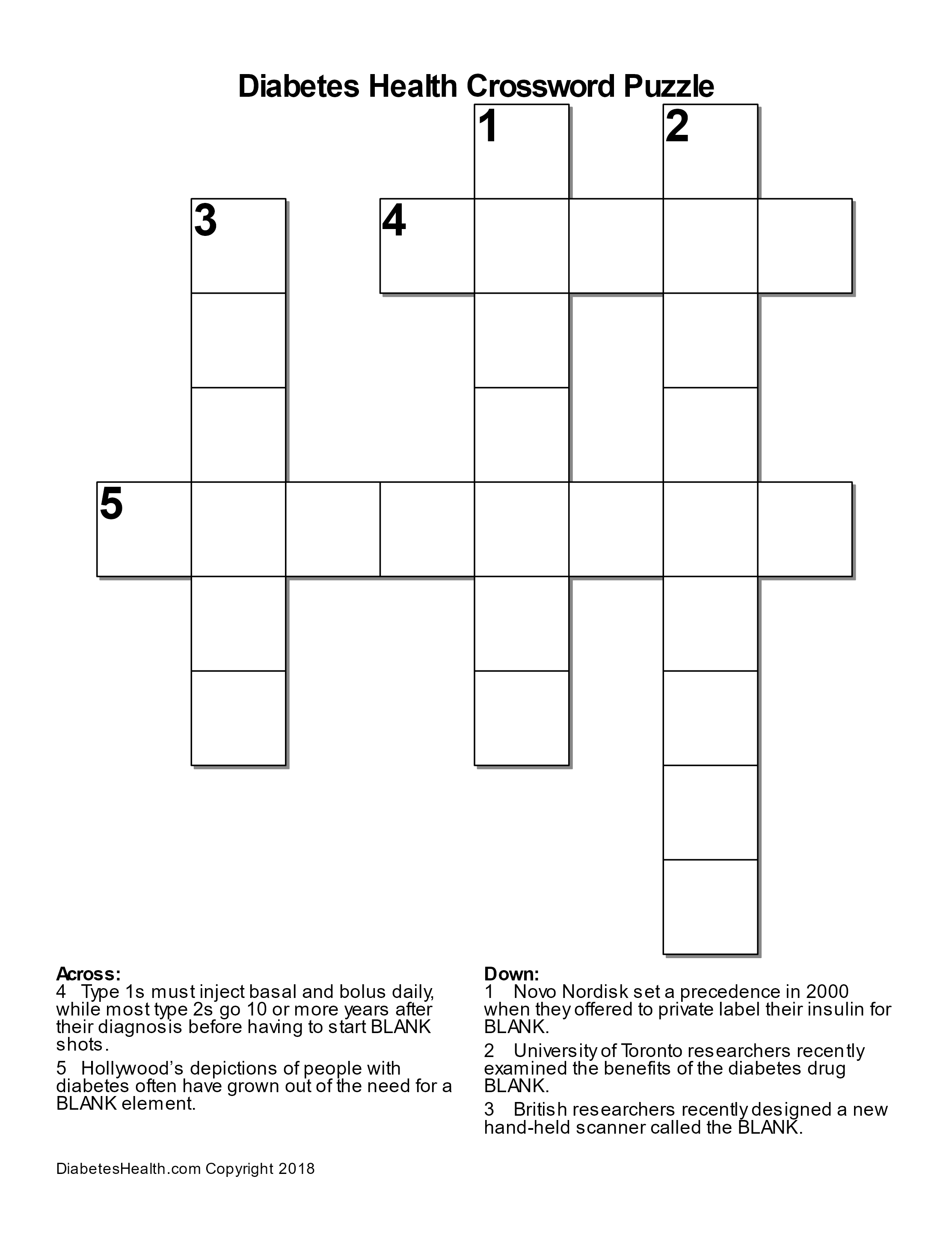 Diabetes Health Crossword Puzzle