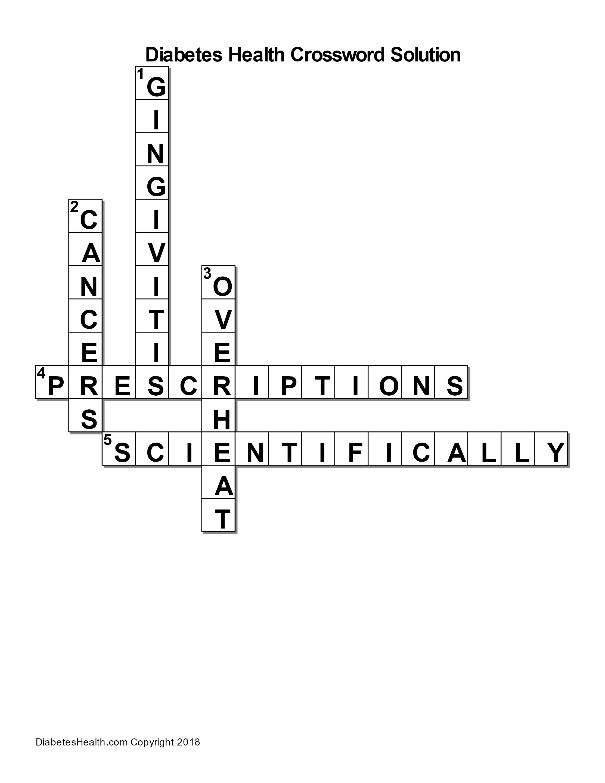 Diabetes Health Crossword Puzzle Solution – Diabetes Health